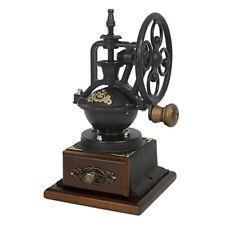 Vintage Antique Coffee Bean Mill Wheel Hand Crank Manual Grinder Wooden Drawer