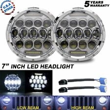 "Pair H6024 H4-H13 DOT Chrome 7"" LED Headlight DRL For Jeep Wrangler JK LJ TJ CJ"
