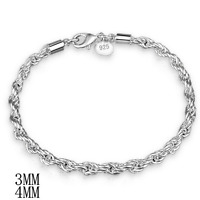 Fashion Women 925 Silver Plated Rope Twisted Bangle Chain Bracelet Jewelry 3/4mm