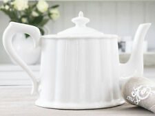 SHABBY CHIC FRENCH TEAPOT WHITE COUNTRY SCANDI ANTIQUE STYLE CHRISTMAS VINTAGE