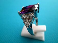 Silver Ring With Natural Amethyst And White Topaz Size P 1/2, US 8  (rg1790)