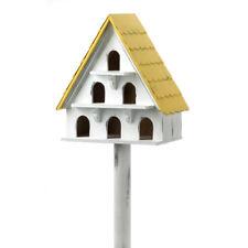 HOME GARDEN DECOR CAPE COD CONDO WHITE BIRD HOUSE BIRDHOUSE WOOD