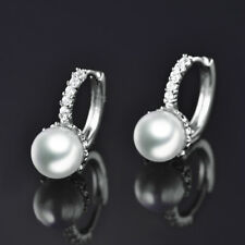 HUCHE Classic Silver White Gold Filled Hoop Diamond Pearl Women Party Earrings