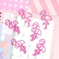30pcs Cute Pink Flamingo Shape Paper Clips Creative Colorful Clip Bookmarks w/