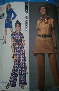 """Vintage 1970 Simplicity Designer Tunic Trousers Sewing Pattern 8728 Bust 34"""""""