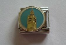 9mm Italian Charm  E129 Tower Clock London England  Big Ben Fits Classic Size