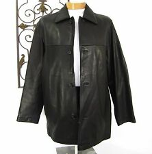 REILLY OLMES COLLECTION LEATHER JACKET COAT SIZE L LARGE SOLID BLACK PPD