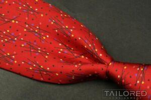 """HERMES 7953 EA Red Geometric Polka Dot 100% Silk Mens Luxury Tie - 3.50"""""""