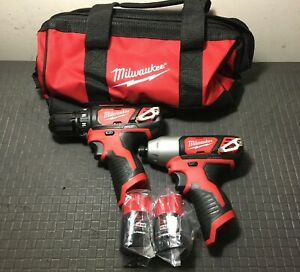 """Milwaukee 2494-22 M12 3/8"""" Drill / Driver & 1/4"""" Hex Impact Driver 2-Battery Kit"""