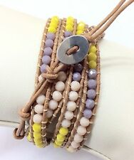 Leather Wrap Bracelet With Yellow & Purple Crystal.