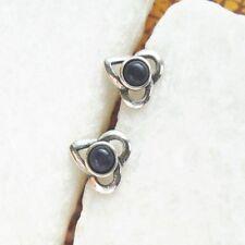 Sodalith dunkelblau rund Blüte Design Ohrringe Ohrstecker, 925 Sterling Silber