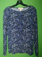 2465) MICHAEL KORS medium M black blue pullover polyester knit top boatneck M