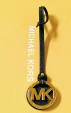 Small Michael Kors MK Gold Charm / Black Saffiano Leather Long Strap Handbag Fob