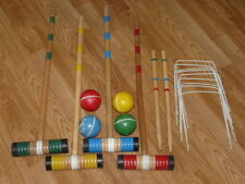 Vintage Croquet 4 Player Set - Wooden Mallets & Stripped Balls