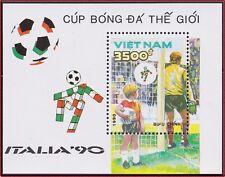 VIETNAM Bloc N°51** Bf  Football Italia 90, 1990 Vietnam 2089 Italy Soccer MNH