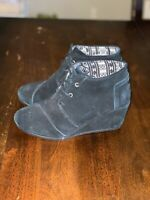 Toms Womens Suede Wedges Black Size 7