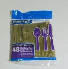 48Ct Heavy Duty Gold Plastic Cutlery Utensils