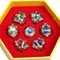 Anime Hitman Reborn Vongola Famiglia Rings Cosplay Colorful Ring Charm 7pcs/Set