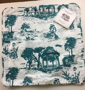 Working Class Studio Savannah Toile Collection Pillow COVER Teal,18-inch Square