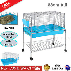 Rabbit Hutch With Stand & Wheels Bunny Home Small Animal Cage House Portable