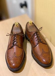 Vtg Florsheim Royal Imperial 97625 Long Wing 5 Nail V Cleat Brown Shoes 10.5 D