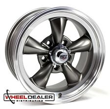"15x7-15x8"" GRAY TORQUE THRUST STYLE WHEELS 5x4.75"" FOR CLASSIC GM CARS FREE LUGS"