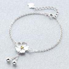 925 Silver Sakura Flower Tassel Ball Pendant Bracelet Charm Bracelets Women Gift