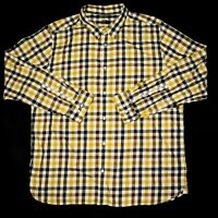 North Face Mens 2XL XXL Black Yellow Plaid Flannel Long Sleeve Button Up Shirt