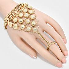 Esotico Glam Gold con trama Cabochon Braccialetto A Mano Chain Ring da rocce Boutique