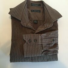 J. Ferrar Mens 15 1/2 34-35 Brown Long Sleeve Dress Shirt