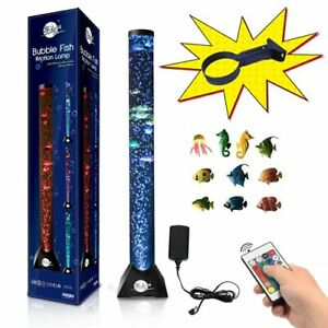 Brewish 4FT Sensory LED Water Bubble Fish Tube Floor Lamp with 20 Color Changing