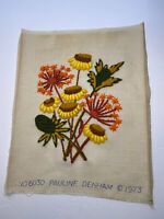 "Vtg 1973 Crewel Embroidery Retro Floral Flower Completed 13x15.5"" No Frame"