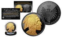 INDIAN HEAD SKULL 1 oz Copper Medallion BLACK RUTHENIUM w/ 24K Gold Gilded SKULL