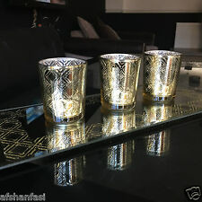 set of 3 mirrored glitter glass candle tea light holders gold GOLD candle set