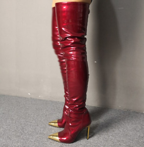 Thigh-High Boots Stiletto High Heel Womens Pump Shoes Patent Leather Party Sexy