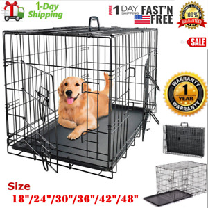 "Extra Large Dog Crate Kennel 48""/42""/36""/30""/24"" Folding Pet Cage Metal US SHIP"