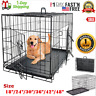 "Extra Large Dog Crate Kennel 48""/42""/36""/30""/24"" Folding Pet Cage Metal 2 Doors"