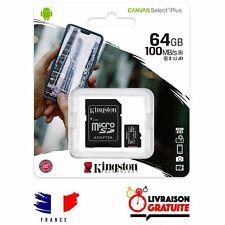 Carte mémoire Micro SDXC 64 Go Class 10 Kingston capacité 64 giga + Adaptateur