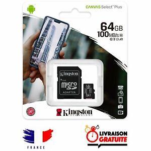 Carte mémoire Micro SDXC 64 Go Classe 10 Kingston capacité 64 giga + Adaptateur