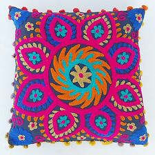 Vintage Suzani Cushion Cover Embroidered 16 x 16'' Indian Pillow Case Decorative