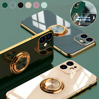For iPhone 12 11 Pro Max XS XR X Glossy Plating TPU Ring Holder Soft Case Cover