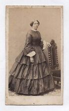 PHOTO ANCIENNE CDV Femme Mode Vers 1870 Perin & Schahl Nancy Chaise Studio