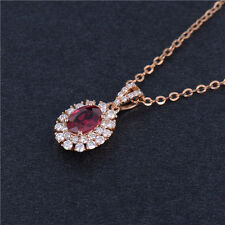 Natural Oval 0.60ct Blood Ruby 0.30ct Diamond Pendant For Necklace 18k Rose Gold