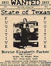 BONNIE CLYDE WANTED POSTER GANGSTER PUBLIC BANK ROBBER BARROW PARKER ALCATRAZ