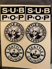 """Lot of 6 Sub Pop Records 1990 Seattle Grunge 2"""" to 4"""" Logo Stickers Fast Ship!"""