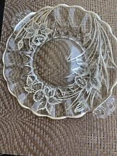 Vintage Clear Glass Serving Tray With Silver Overlay
