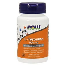Now Foods L-TYROSINE 500MG 60 CAPS Made in USA FREE SHIPPING
