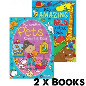 2 x A4 Childrens Kids Colouring Book Books MY AMAZING ANIMALS & MY PERFECT PETS