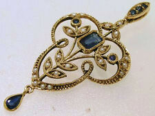 CP322 Genuine 9ct Yellow Gold Natural Sapphire & Pearl Vintage style Pendant