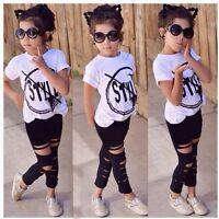 2pcs Toddler Kids Baby Girls T-shirt Tops+Long Pants Leggings Outfit Clothes Set